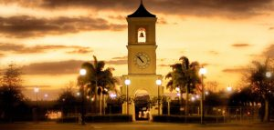 Clock Tower At Sunset In Pembroke Pines