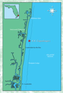 A map showing the location of a shipwreck off Florida's coast