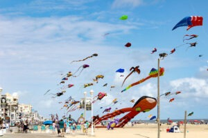 colorful kites fly on the beach