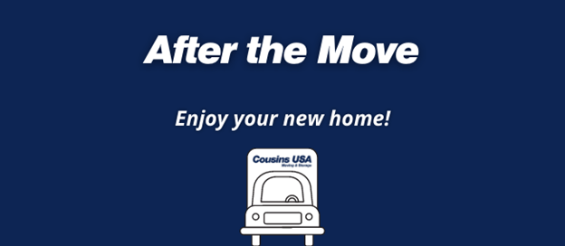 """Text Says, """"After the Move: Enjoy your new home!"""""""