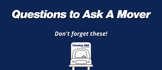 """Text says, """"Questions To Ask A Mover: Don't forget these!"""""""